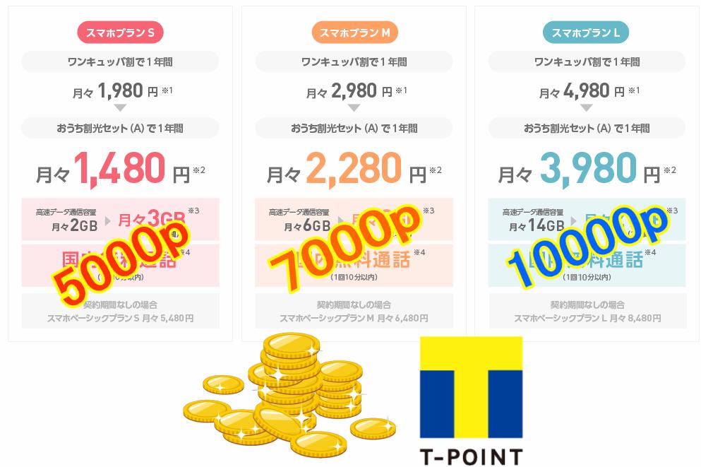ワイモバイルのスマホプラン(S/M/L)に応じて、プレゼントされるTポイントが異なる。スマホプランSで5000ポイント、スマホプランMで7000ポイント、スマホプランLで10000ポイント。