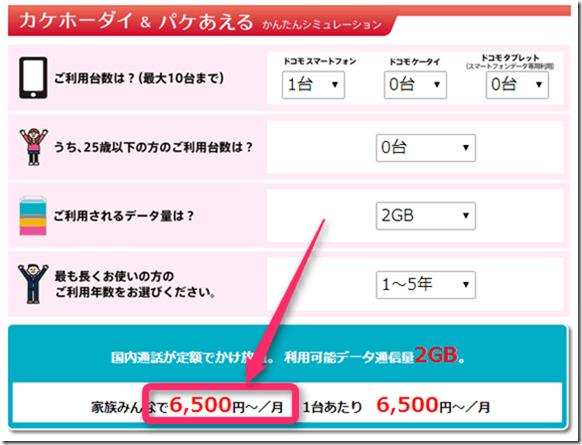 ドコモの料金プラン「カケホーダイ&パケあえる」ならスマホ1台でも6500円