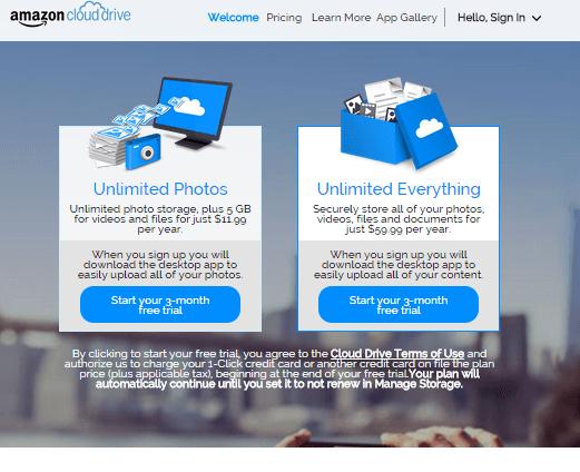 Amazon 無制限のオンラインストレージ開始!料金は写真のみの月額1ドルから
