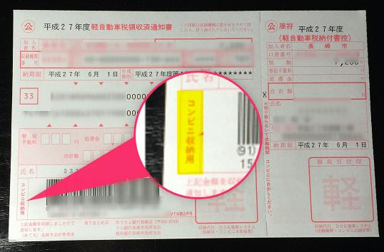 コンビニ支払い可能な自動車税の納付書