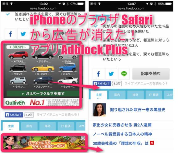 iPhoneのブラウザSafariから広告を消せるアプリ Adblock Plus