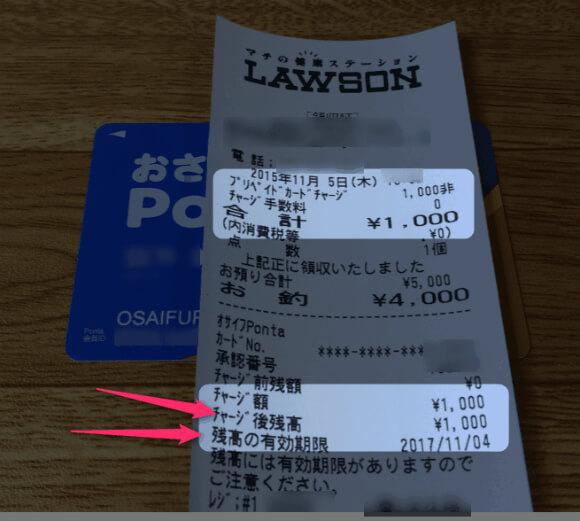 おさいふPontaにローソンのレジで1000円チャージ。