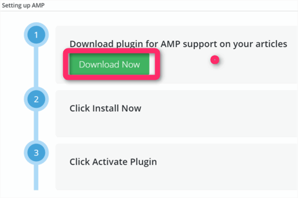 Download plugin for AMP support on your articles