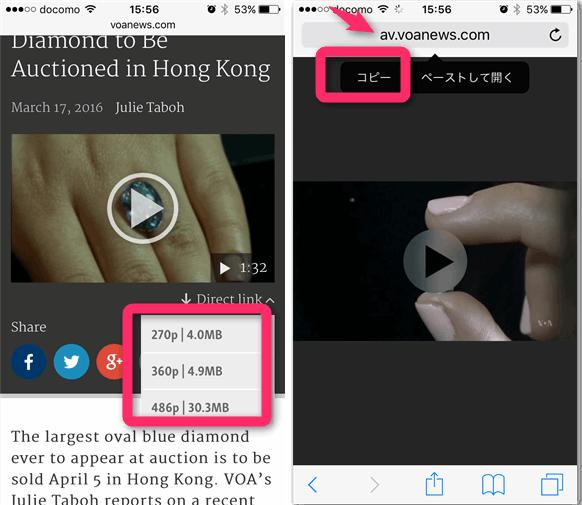 iPhone のSafari ブラウザから動画のURLをコピー。