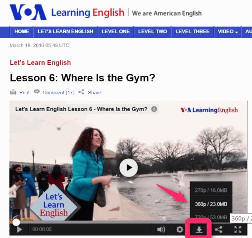 パソコンでVOA から英語の動画をダウンロードする。