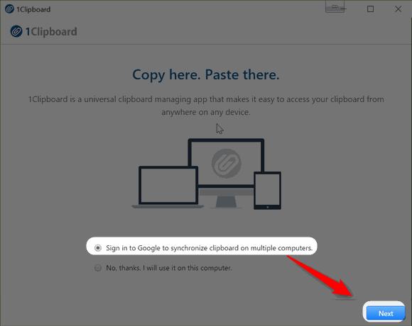 1Clipboard の使い初めにGoogleアカウントでログインする。