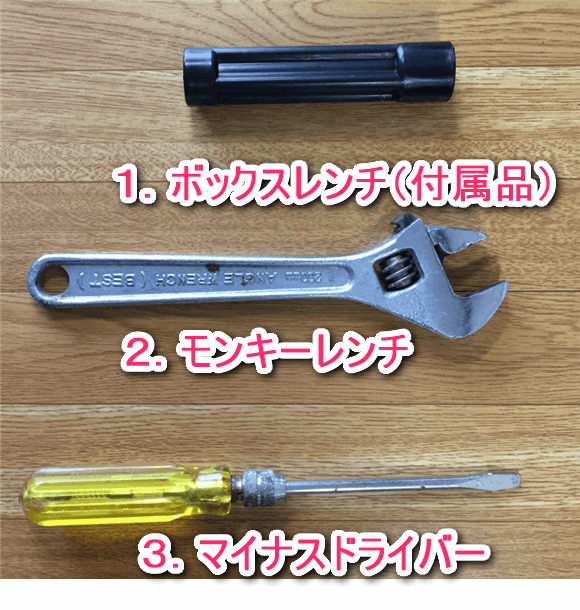 ウォシュレットを自分で取り付けるための工具は3点のみ。ボックスレンチ、モンキーレンチ、マイナスドライバー。ー