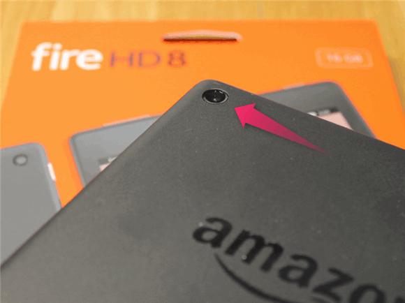 Amazon Fireタブレット の背面カメラ。
