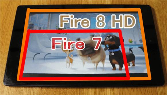 Fireタブレット「DH 8」と「HD 7」の画面大きさの違予想以上