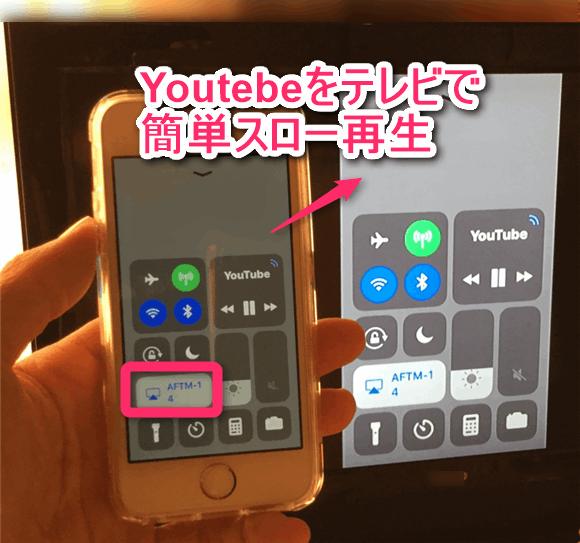 iPhoneの「AirPlay」をオンにしてテレビで画面をミラーリングしている。