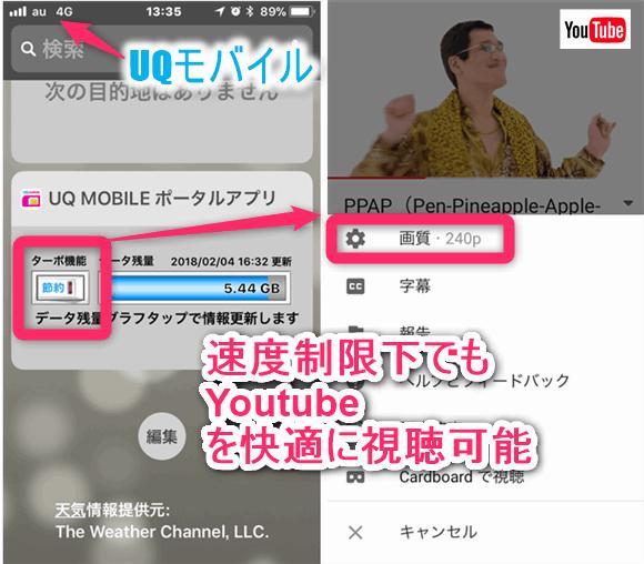 UQモバイルなら速度制限下でもYoutubeを快適に視聴可能です。