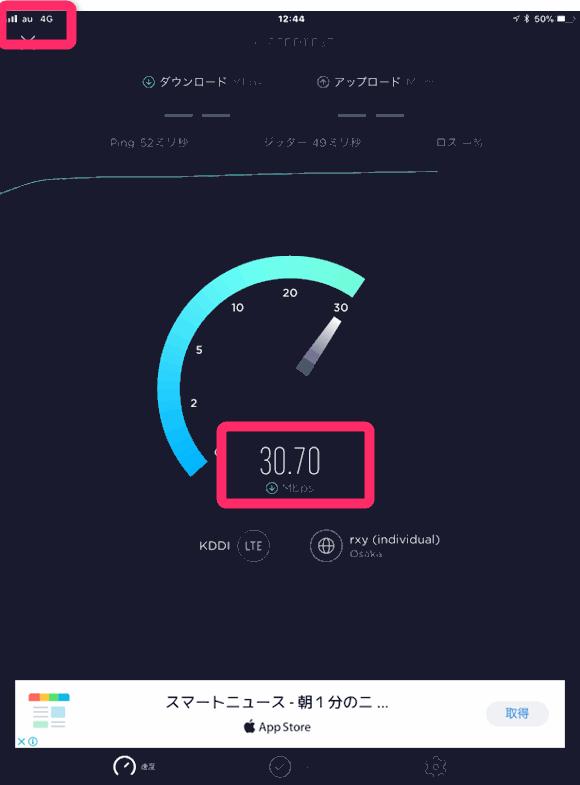 UQモバイルはダウンロード 30Mbps以上出ている。