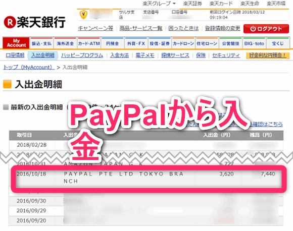実際にPayPalのドルを日本の銀行に円建てで出金完了。楽天銀行。