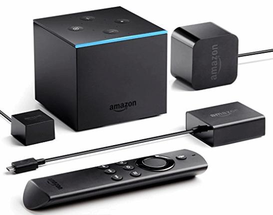 Fire TV Cube に付属している、リモコン「Alexa Voice Remote」、インターネットアダプタ。