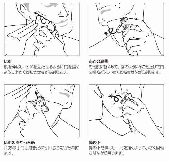 フィリップス製の電気シェーバーの使い方。頬や顎の裏側、鼻の下の髭を剃る方法。