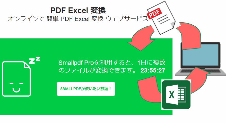 PDFをエクセルへ変換するウェブサービスの使い方。