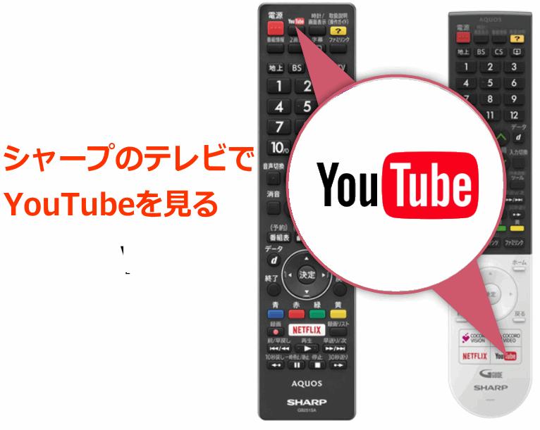 シャープのテレビでYouTubeを見る場合、リモコンの「YouTube」を押すだけ。