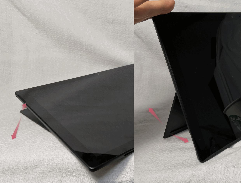 「Surface Pro 6」のキックスタンドは角度を自由に変えられる。