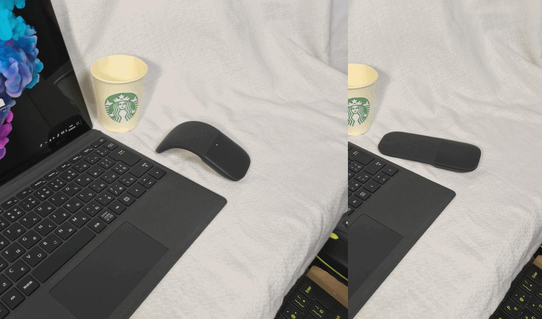 「Surface Pro 6」のオプション「Microsoft アーク マウス」は自由に曲げられる。