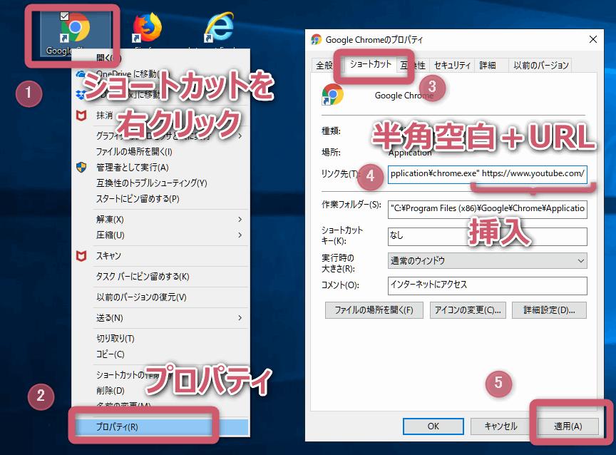 デスクトップに作成したブラウザのショーカット・アイコンを右クリックし「プロパティ」からリンク先を編集する。