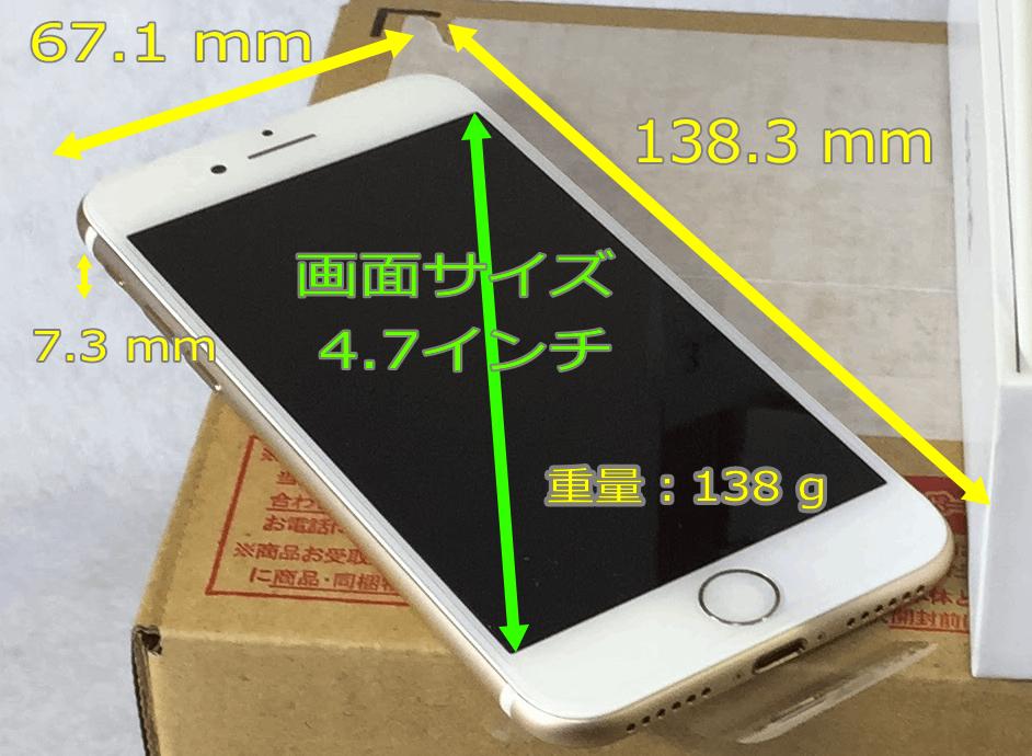 iPhone 7のサイズと重量。