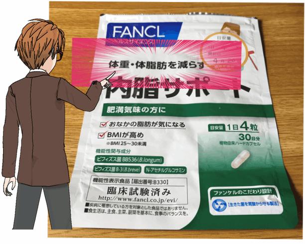 「内脂サポート」の体重・脂肪を減らす効果がパッケージに記載されている。