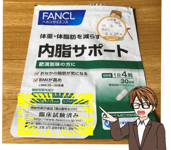 「内脂サポート」が期待できる理由が「臨床試験済み」と記載されていることから分かる。