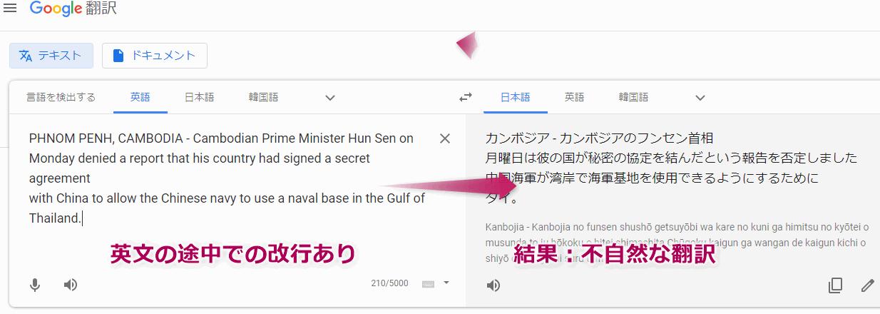 Google翻訳を利用してPDFを翻訳する場合、文の途中の改行問題が発生し翻訳が不自然になる。