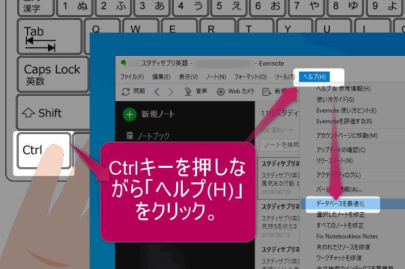 Evernoteのデータベースを最適化するには、Ctrlキーを押しながら「ヘルプ(H)」をクリックし、メニューの中から「データベースを最適化」を選択。