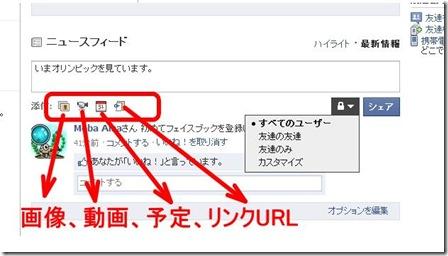 フェイスブック、ニュースフィードにはコメントを挿入したら、添付のアイコン(画像、動画、予定、リンクの挿入)