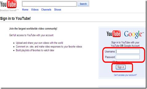 YouTubeの「Leanback」を見るためにgoogleアカウントでログインする。