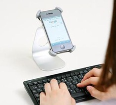 キーボード入力に便利なiPhoneアルミスタンド(サンワサプライ)