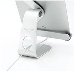 iPadアルミスタンド(サンワサプライ)は電源コードも通せます